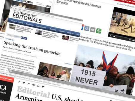 Assembly Hails Editorials Calling for US, International Recognition of the Armenian Genocide