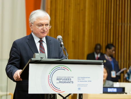 Nalbandian Speaks at UN General Assembly on Refugees and Migrants