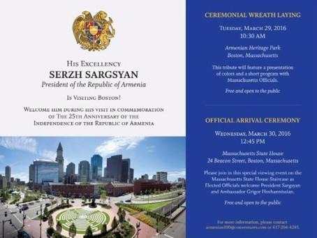 President Sargsyan Visits Boston (Flyer)