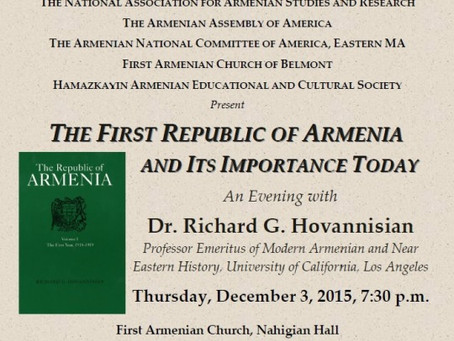The First Republic of Armenia and Its Importance Today, an Evening with Dr. Hovannisian