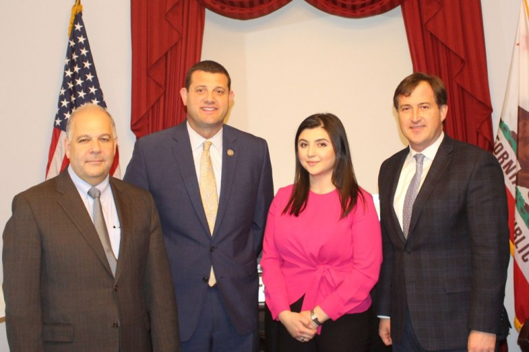 (l-r): Anthony Barsamian, Assembly co-chair, Congressman David G. Valadao, Armenian Caucus co-chair, Mariam Khaloyan, Assembly Congressional Relations Director and Bryan Ardouny, Assembly Executive Director, met in Washington D.C. in February 2018 to discuss priority issues of concern to Armenian Americans.