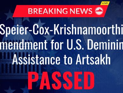 AAA Welcomes Amendment in Support of Demining Nagorno Karabakh