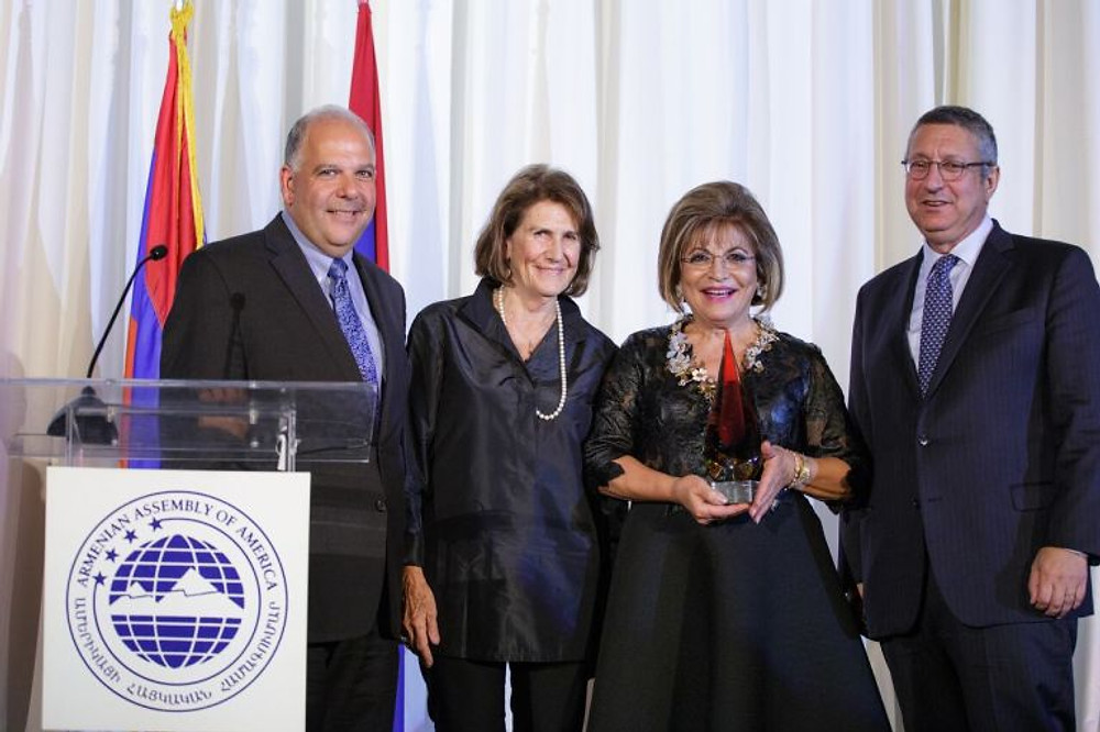 Armenian Assembly President Carolyn Mugar with Co-Chairs Anthony Barsamian and Van Krikorian awarding Annie Simonian Totah with the Assembly's Distinguished Humanitarian Award.jpg