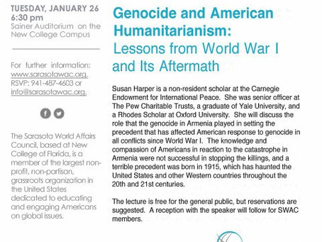 Dr. Susan Harper Presented 'Genocide & American Humanitarianism: Lessons from WWI and Its Aftermath'