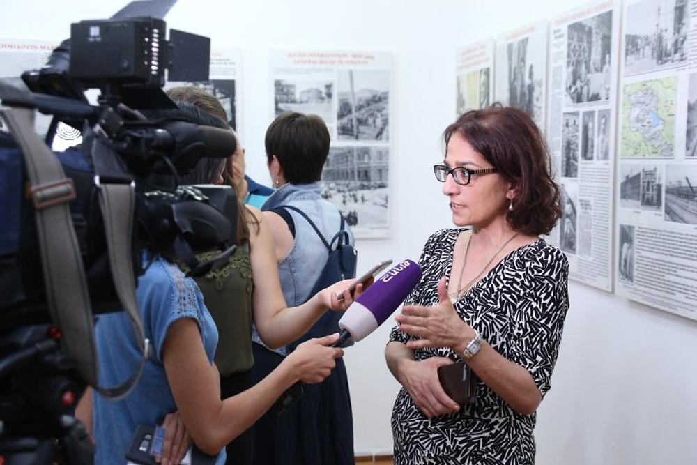 Armenian Assembly of America Regional Director in Armenia Arpi Vartanian being interviewed by Armenian news services.JPG