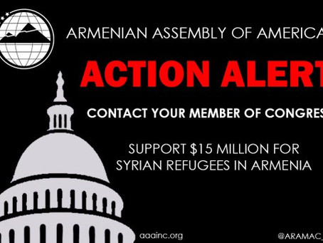 Armenian Assembly Urges Congress to Direct $15 Million in Aid to Armenia for Syrian Refugees
