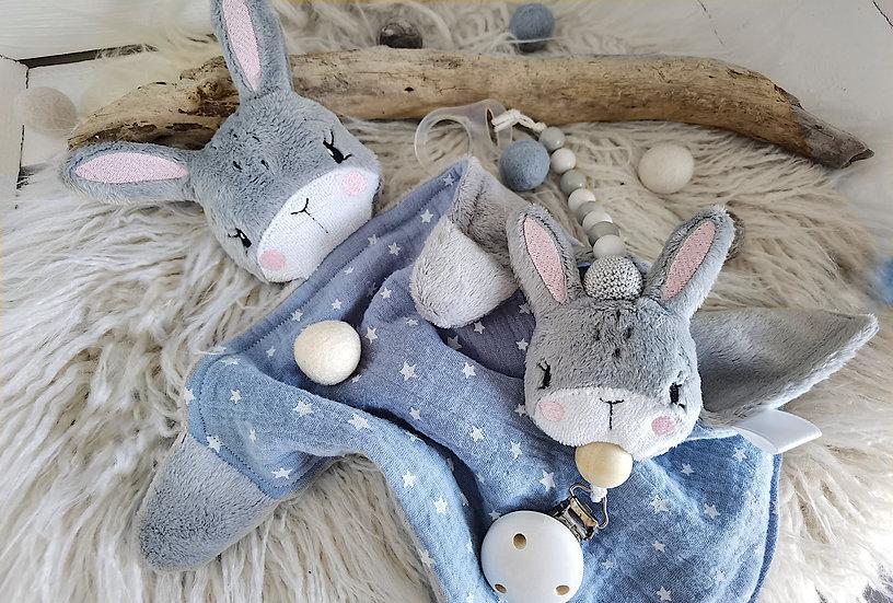Geschenkset Schmusetuch Schnullerband - Hase