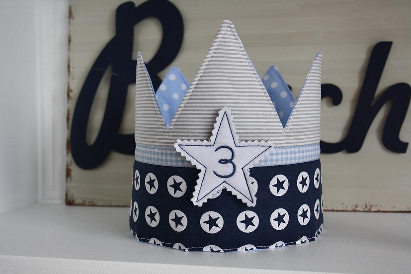 Geburtstagskrone - zweifarbig - Stern