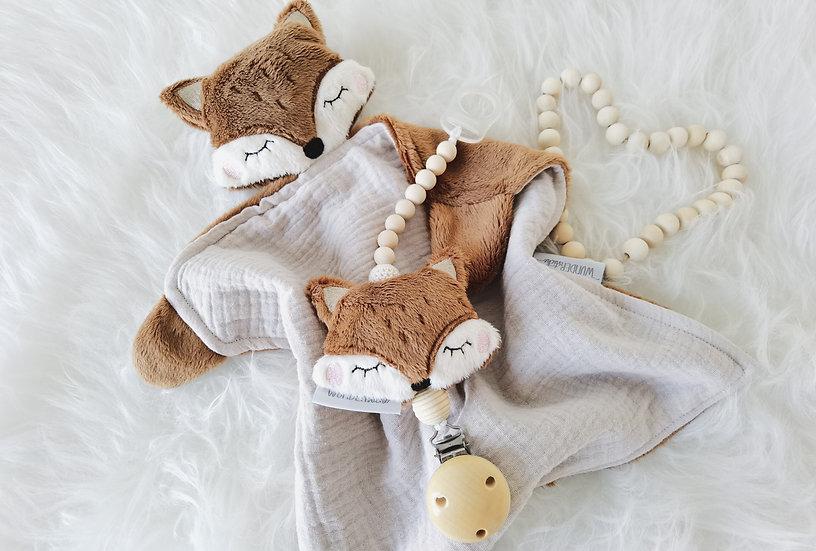 Geschenkset Fuchs - Schmusetuch und Schnullerband