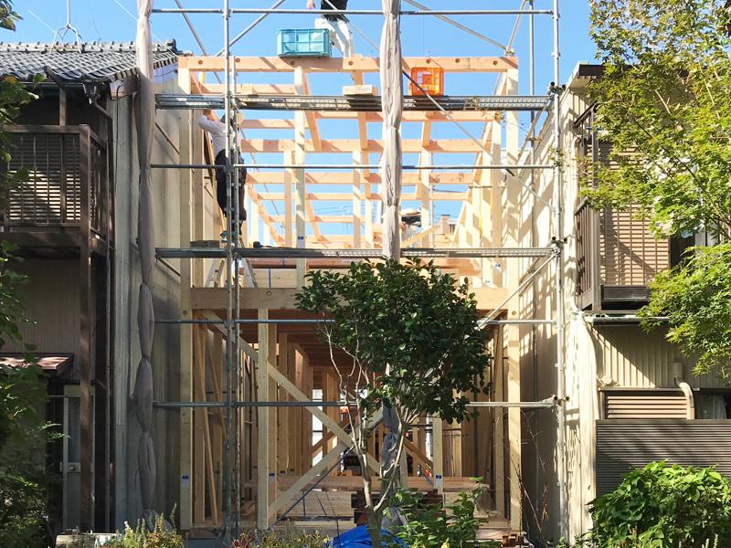 上棟式 狭い土地 注文住宅 デザイナー住宅