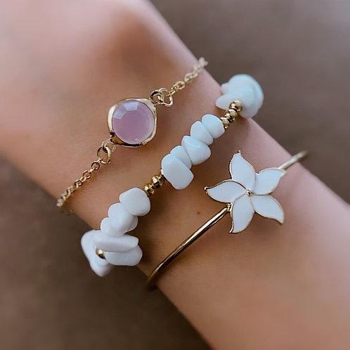 White and Lilac Bracelet Set