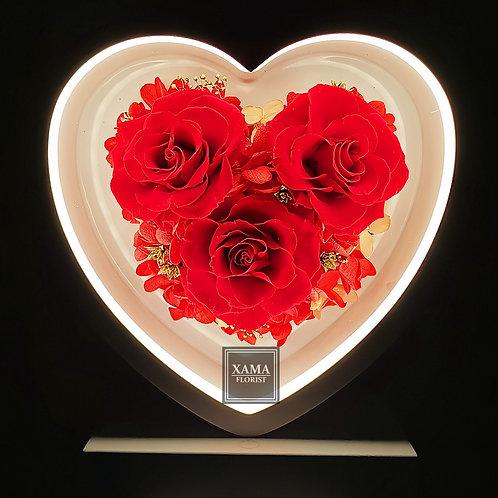 紅玫瑰保鮮花心形檯燈