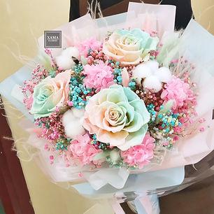 藍粉玫瑰保鮮 花束