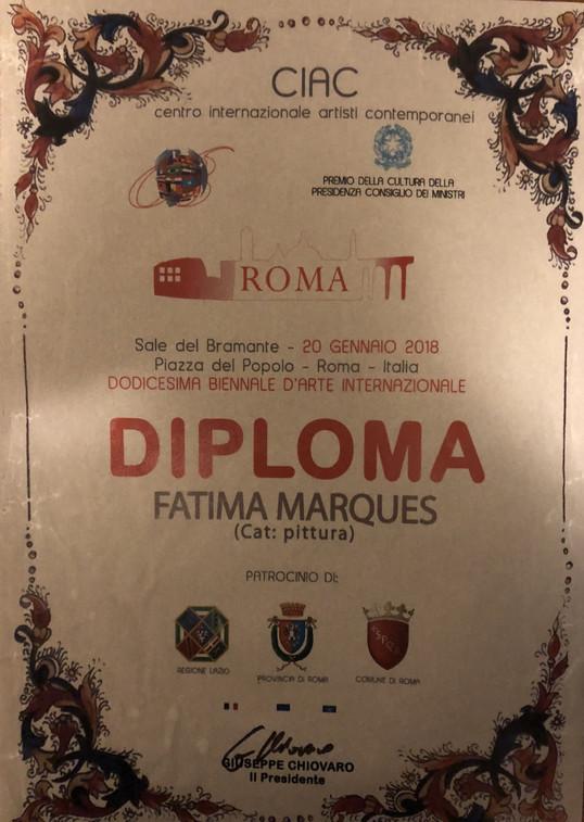Certificado 2ª lugar Pintura-XIIBienal Roma 2018