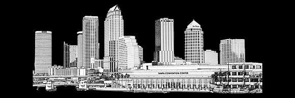 Tampa Skyline Sketch - Panorama