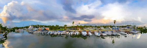 Florida Marina Panoramic Watercolor