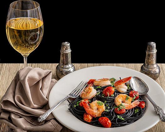 Squid Ink Pasta, Shrimp, and Wine