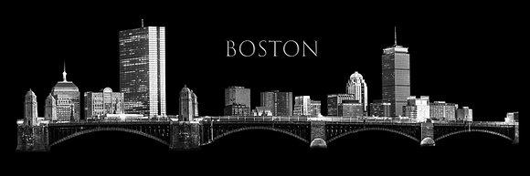 Boston Skyline Sketch - Panorama