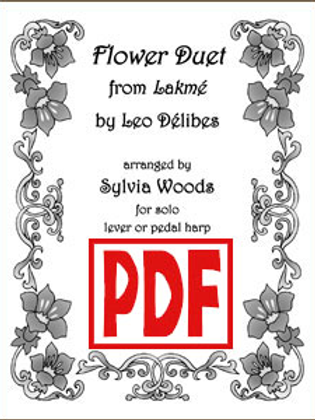 Flower Duet Sheet Music by Delibes arr. for Solo Harp by Sylvia Woods PDF Downlo