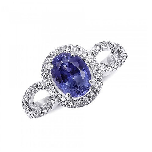 14k White Gold 2.69ct TGW Certified Natural Blue Sapphire and Diamond Ring