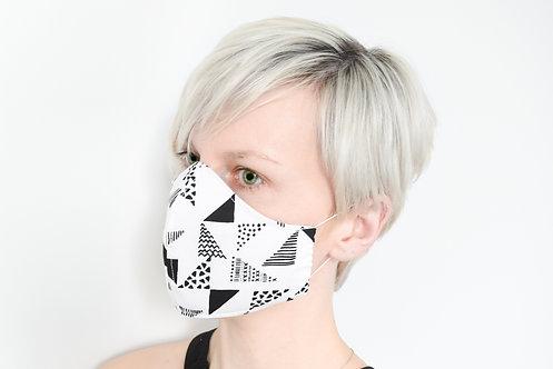 Cotton Face Mask Black & White Triangles