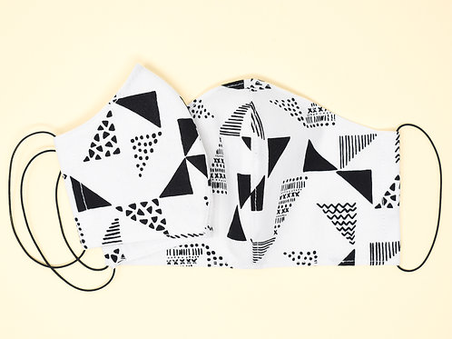 Cotton Face Mask Gift Set Mommy & Me B&W Triangles