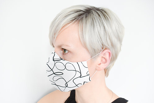 Cotton Face Mask Black & White Abstract Lines