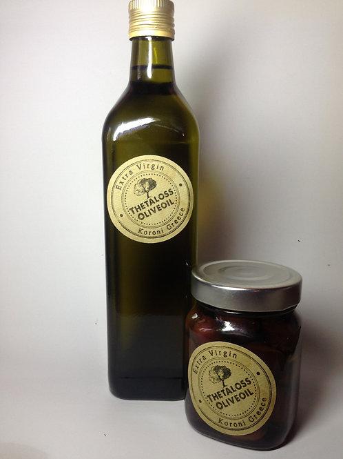Thetaloss Kalamata Oliven und Thetaloss Olivenöl Extra Virgin 075L./ 0.25ml