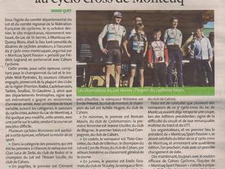 """Cyclo cross de Montcuq - Résumé """"La vie quercynoise"""" :"""
