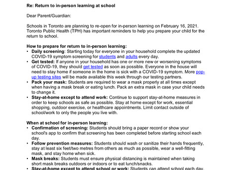Update from Toronto Public Health on Return to In-person Learning at School