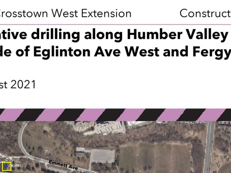 Investigative drilling along Humber Valley (north side of Eglinton Ave W and Fergy Brown Park)