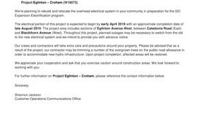Eglinton - Crohan Overhead Construction