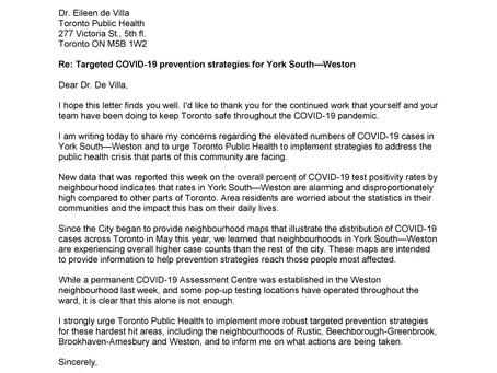 Letter to Dr. Eileen de Villa re COVID-19 in York South-Weston