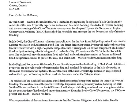 Letter to Minister McKenna Regarding Funding for Rockcliffe Flood Project