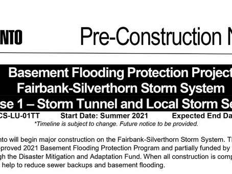 Basement Flooding Protection Project: Fairbank–Silverthorn
