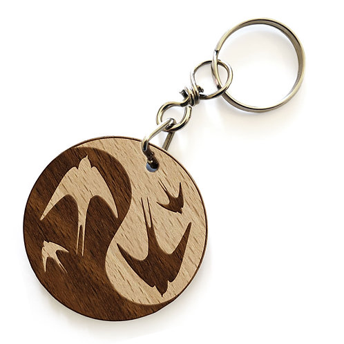 Porte-clés hirondelles YinYang