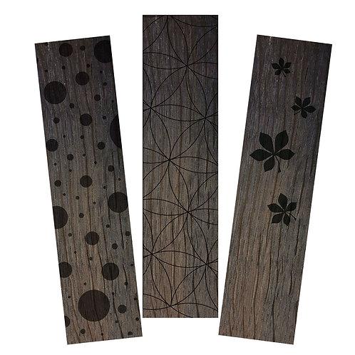 3 Marque-page bois foncé