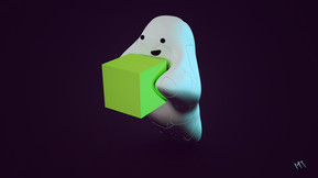 Hubert the Cube-Holding Ghost