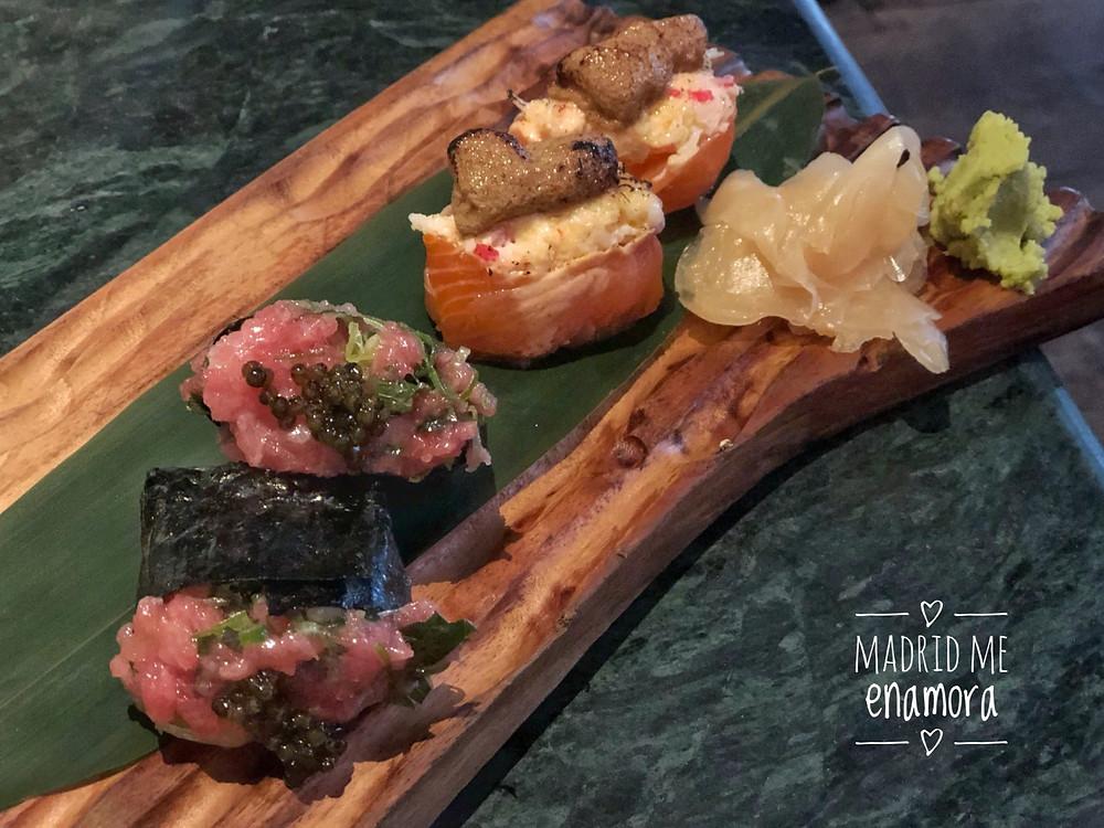Gunkans de atún toro y de salmón crispi con foie.