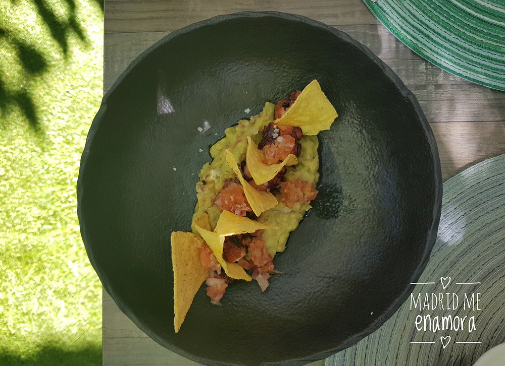 Pulpo a la brasa sobre guacamole, pico de gallo y totopos.