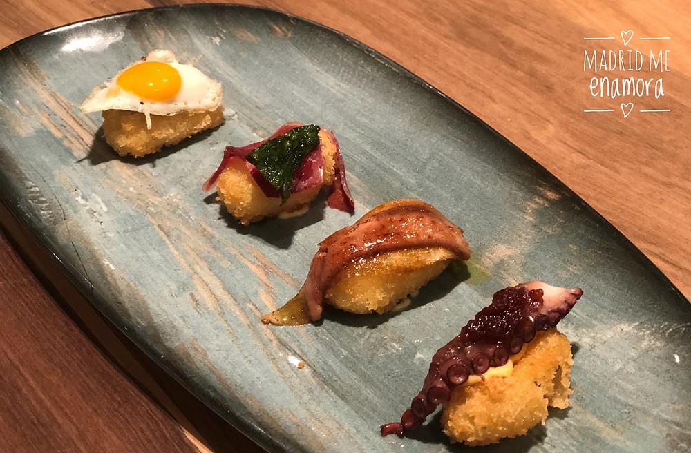 Falsos niguiris de foie y pera; pulpo; jamón y pimientos de padrón y huevo y trufa.