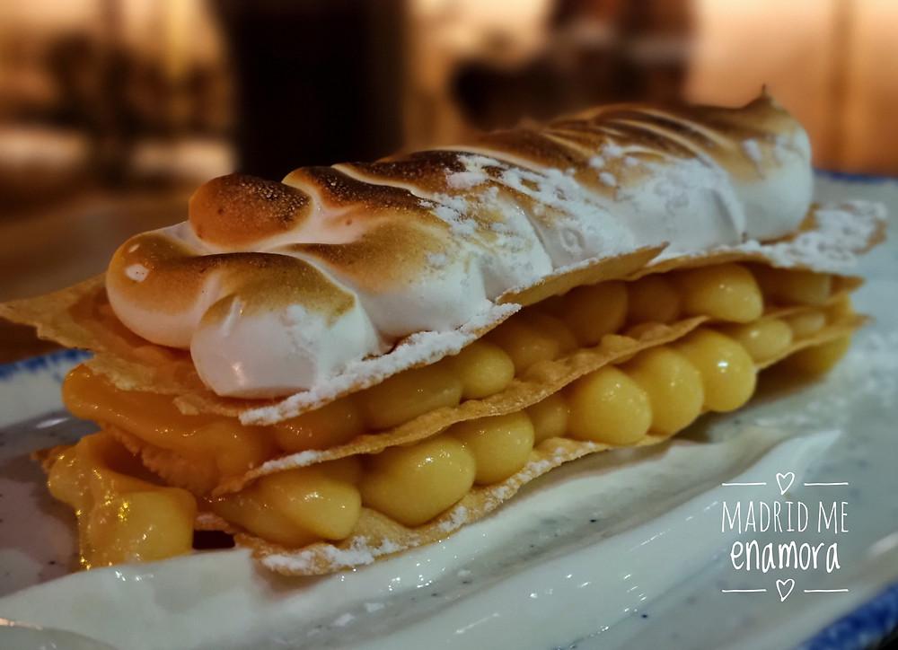 El crujiente milhojas de 'lemon pie' fue el perfecto final a una increíble cena.