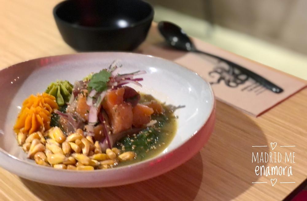 El Nikkei es un ceviche de atún y salmón delicioso.