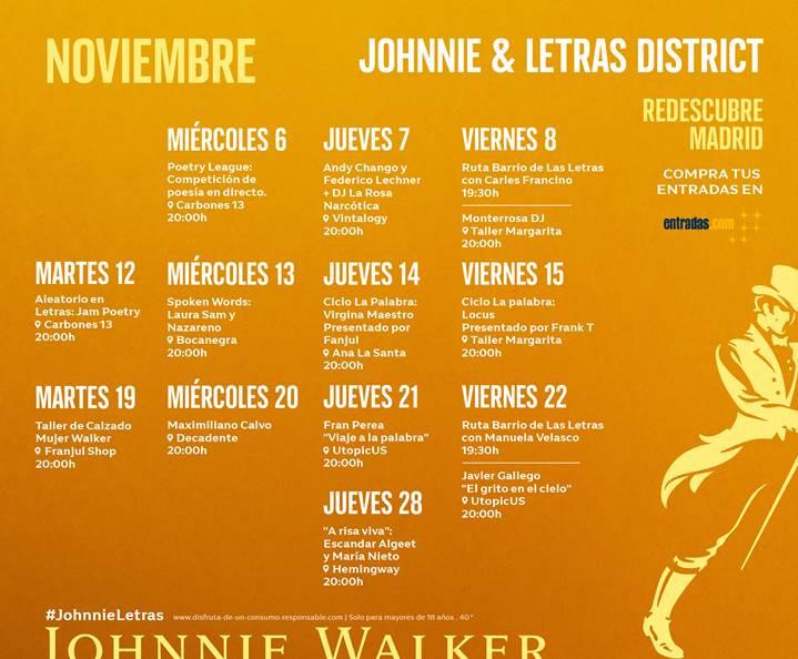 Johnnie & Letras District, plan recomendado en Madrid por www.madridmeenamora.com