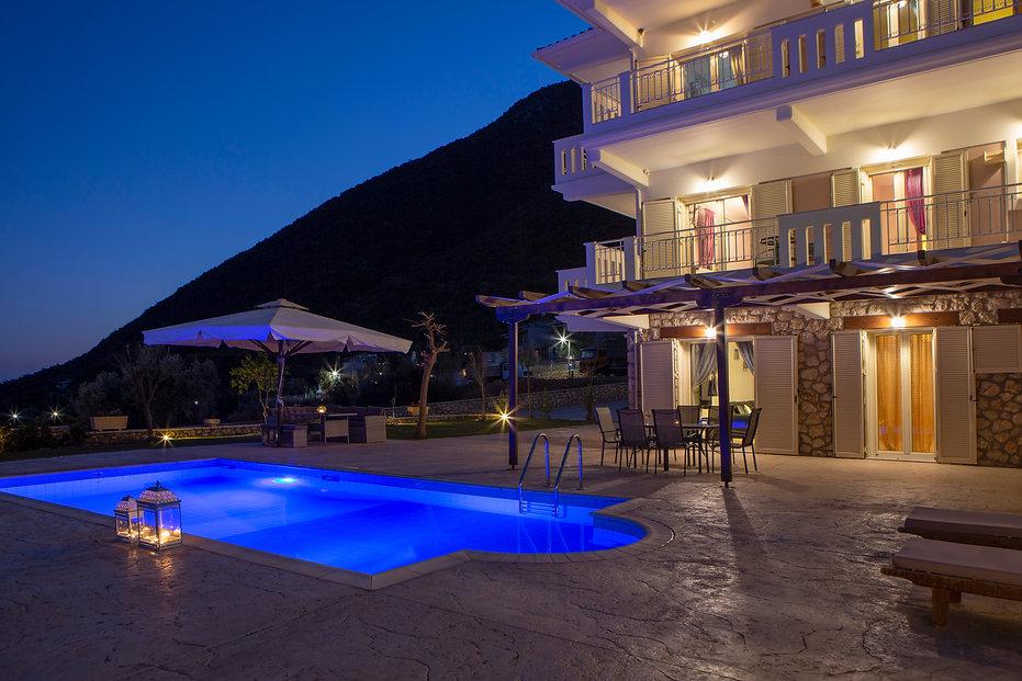 villa ventalia lefkada pool evening 2