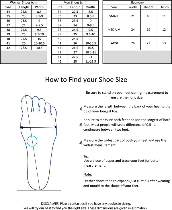 Austorie shoes and bags size chart