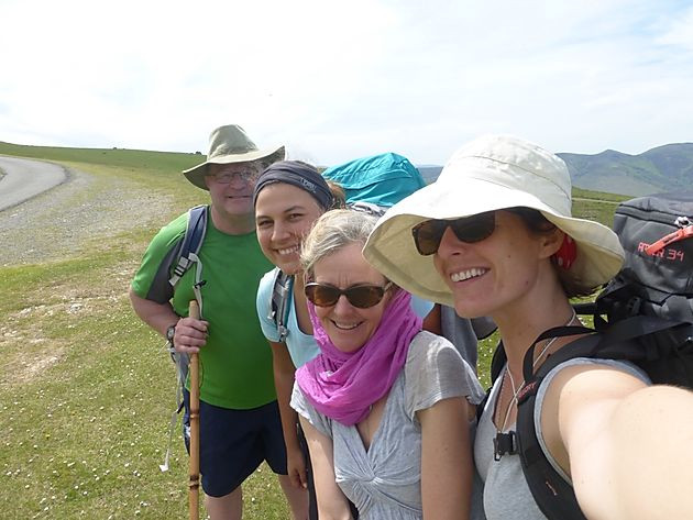 Camino Pilgrims on Pyrenees Pass, France, pelegrinos on the camino