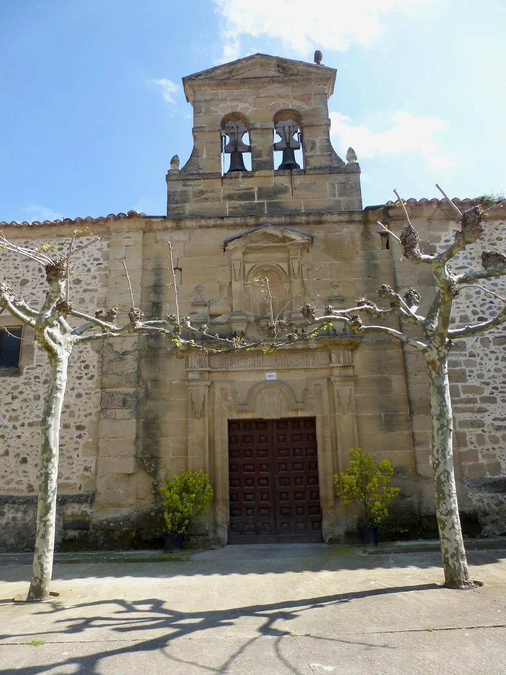Facade of old church on Camino de Santiago