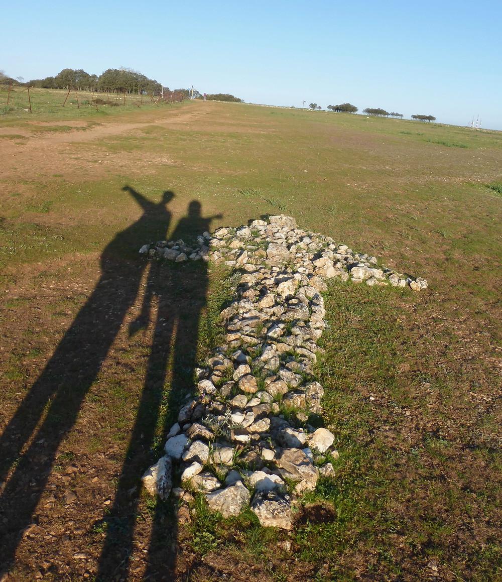 Shadows of Pilgrims on the Camino, Camino arrow