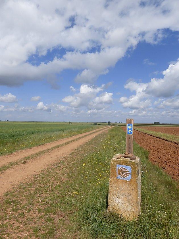 Kilometer marker Camino de Santiago Spain